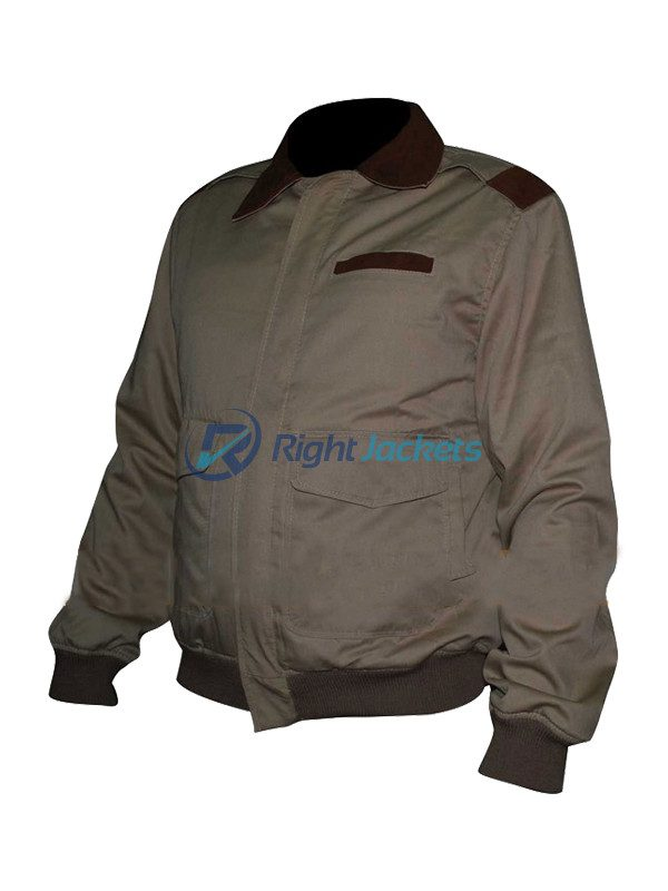 A2 Flight Cockpit Cotton Bomber Jacket With Leather Collar