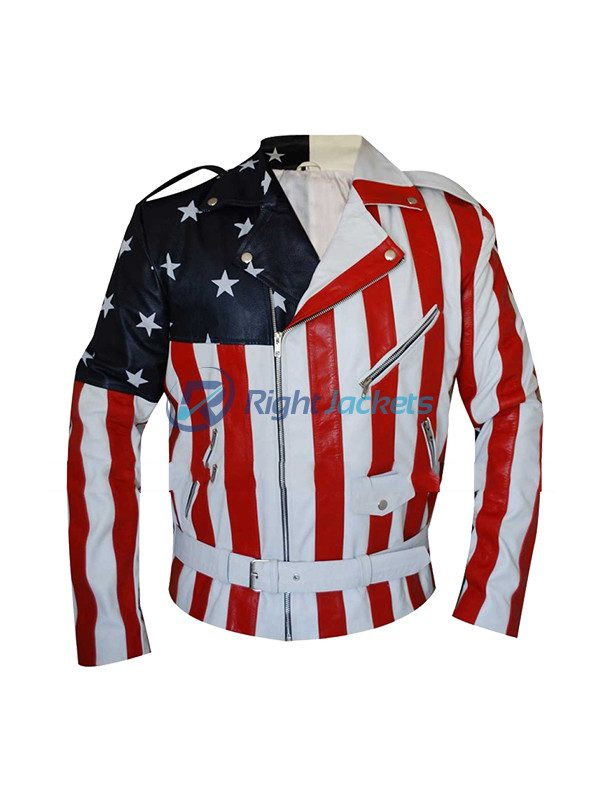 Biker Style America Flag Faux Leather Jacket