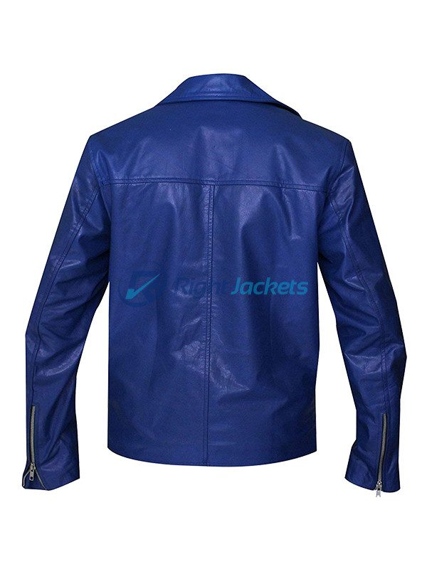 Jared Leto 30 Seconds to Mars Blue Leather Jacket
