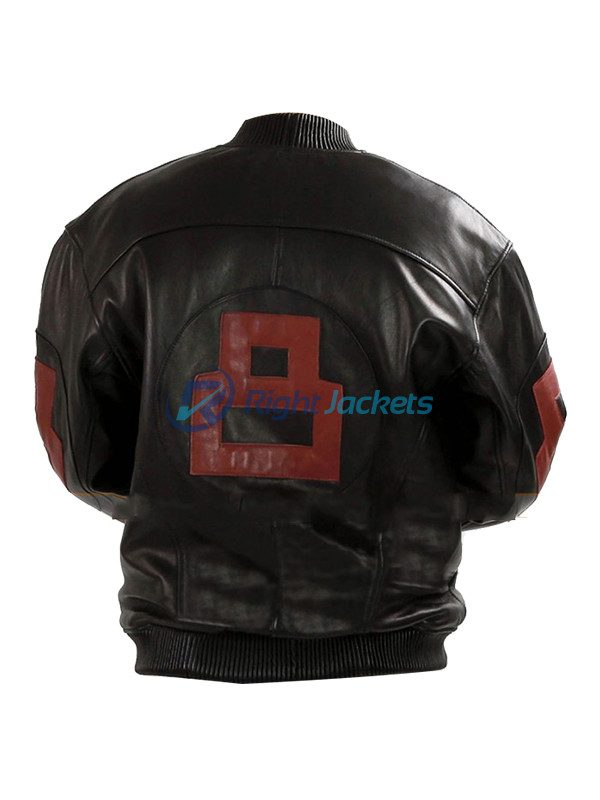 Red 8 Ball Mens Bomber Black Leather Jacket