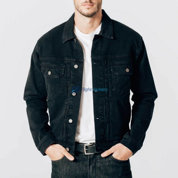 Mens Black Denim Cotton And Elastane Jacket