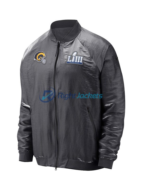finest selection a533f 70c4a Angeles Rams Nike Gray Super Bowl LIII Bound Media Night Bomber Jacket