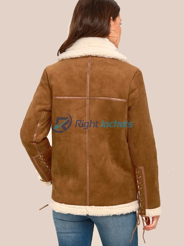 Blizzard Babe Brown Vegan Suede Sherpa Jacket