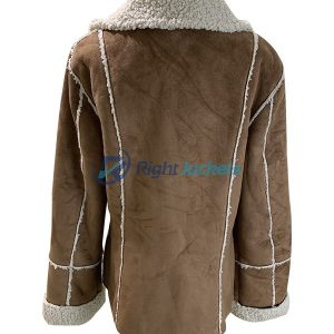 Calvin Klein Women Medium Suede Faux Leather Vegan Brown Sherpa Jacket