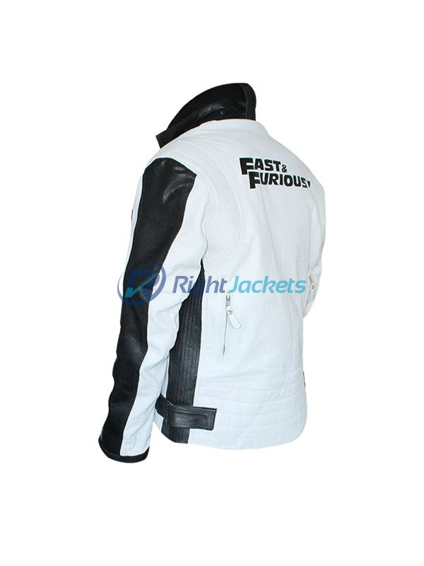 Fast & Furious 7 Vin Diesel White And Black Leather Jacket