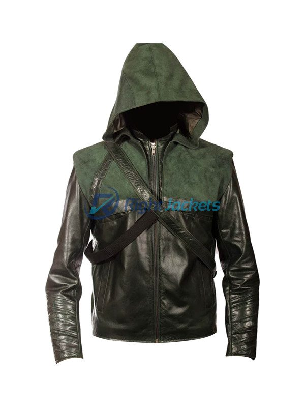 PRLWRS Arrow Stephen Amell Oliver Queen S2 Leather Hoodie Jacket