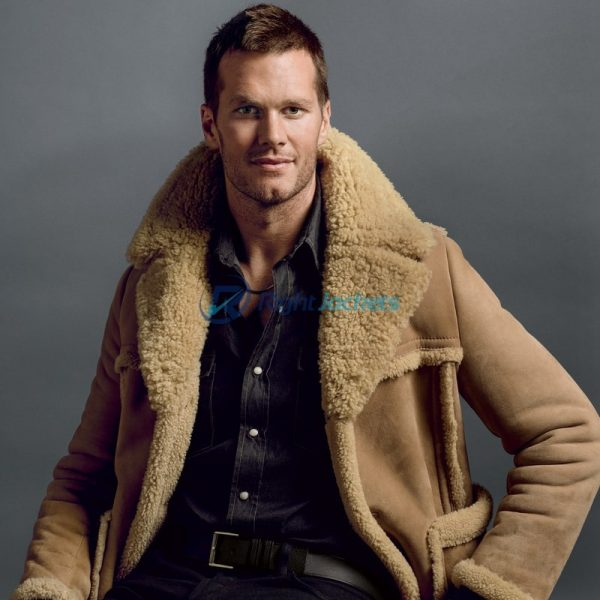 Brown Tom Brady Brown Shearling Fur Coat
