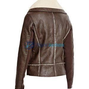 Vegan Leather Jacket With Sherpa Collar in Brown