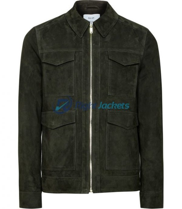 Mens Suede Four Pocket And Collar Jacket