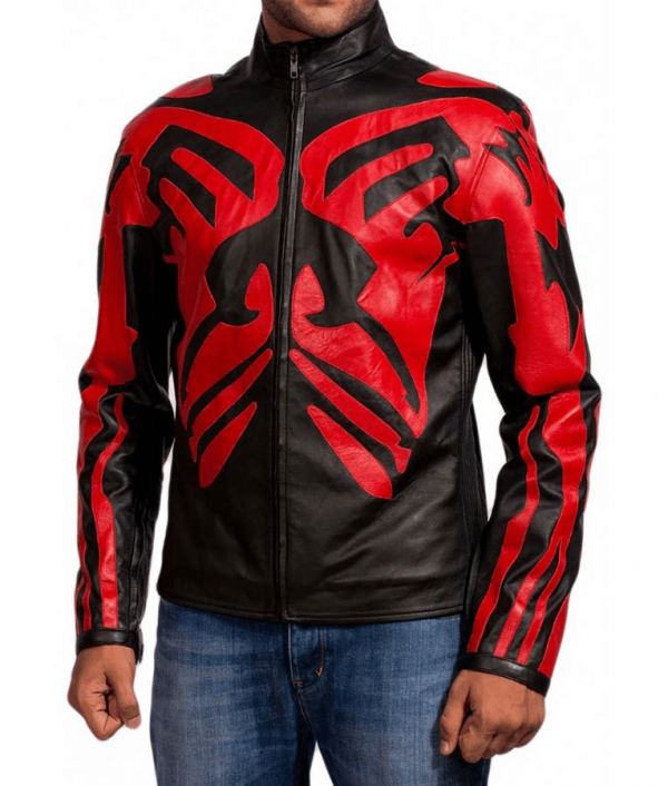 Darth Maul Star Wars Café Racer Red & Black Leather Jacket