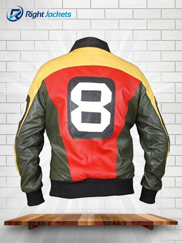 8 Ball Bomber black Leather Jacket