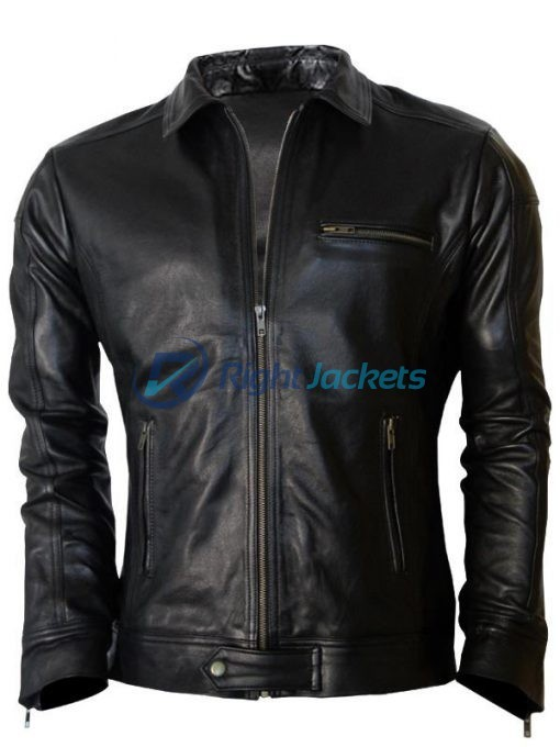 Aaron Paul Need For Speed Motorcycle Black Leather Jacket