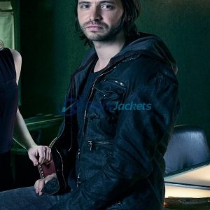 Aaron Stanford 12 Monkeys Series Black Leather Jacket
