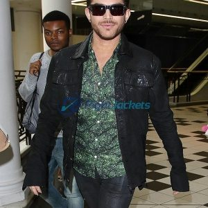 Adam Lambert American Singer Black Leather Jacket
