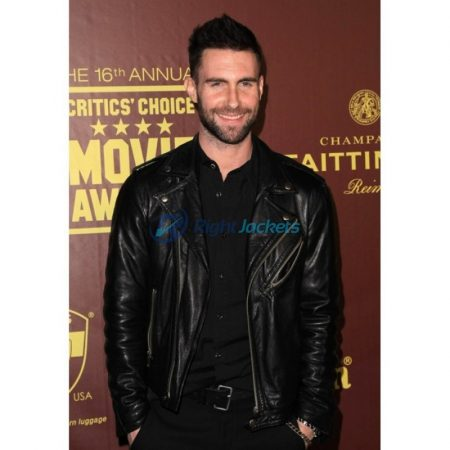 Adam Levine Black Motorcycle Leather Jacket