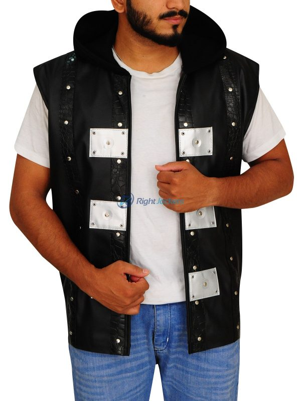 Allen Neal Jones P1 Black Leather Hoodie Vest