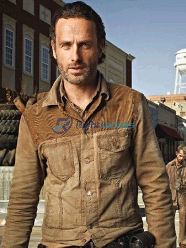 3e2bd35db Andrew Lincoln The Walking Dead Camel Brown Jacket