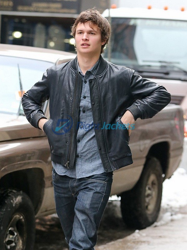 Ansel Elgort Baby Driver Black Bomber Leather Jacket