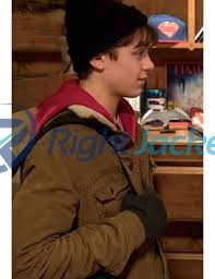 Asher Angel Shazam contrast copper Trucker Cotton Jacket