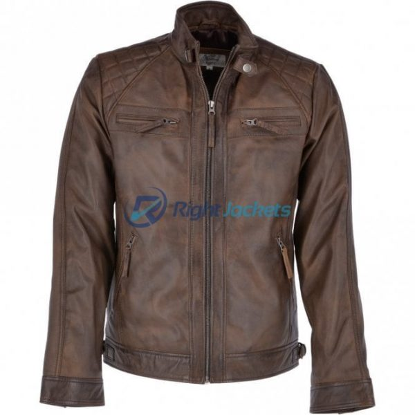 Ashwood Faux Leather Bronx 2 Biker Brown Jacket