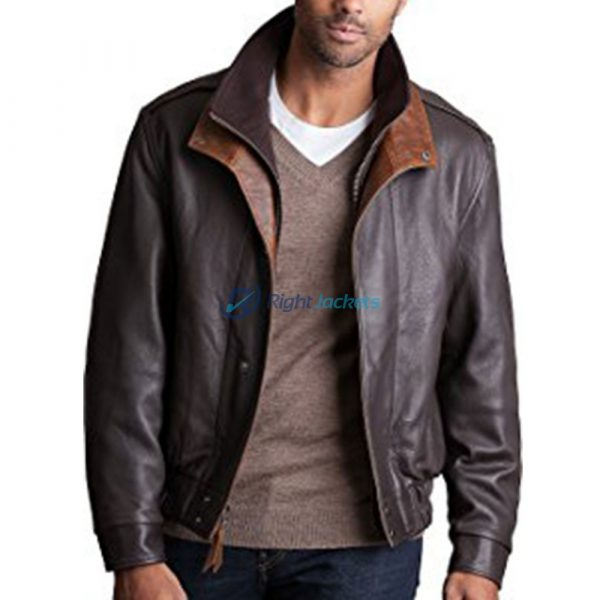 Avenger A2 Brown Leather Stylish Bomber Jacket