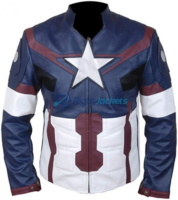 Avengers Age of Ultron Captain America Blue Stylish Leather Jacket