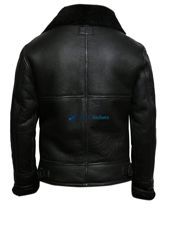B3 Bomber Pilot Shearling Aviator Black Coat