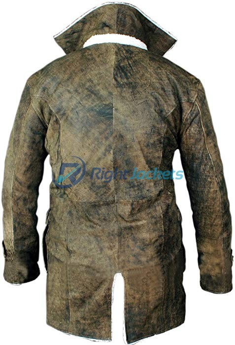 Bane Distressed Leather Shearling Green Long Coat