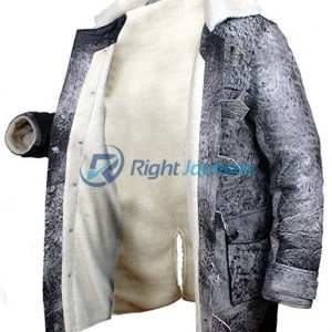 Bane Distressed Leather Shearling Grey Long Coat