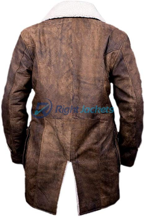 Bane Distressed Leather Shearling Brown Long Coat