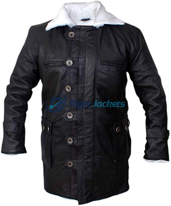 Bane Stonewash Leather Shearling Black Long Coat