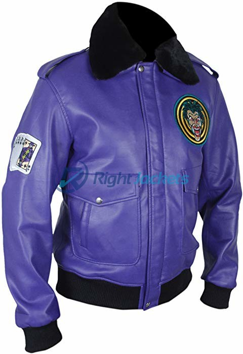 Batman Henchman Joker Goon Purple Bomber Fur Leather Jacket