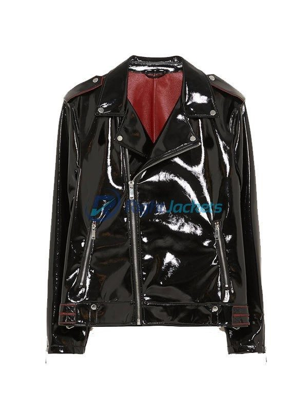Black Vinyl Genuine Motorcycle Mens Leather Jacket