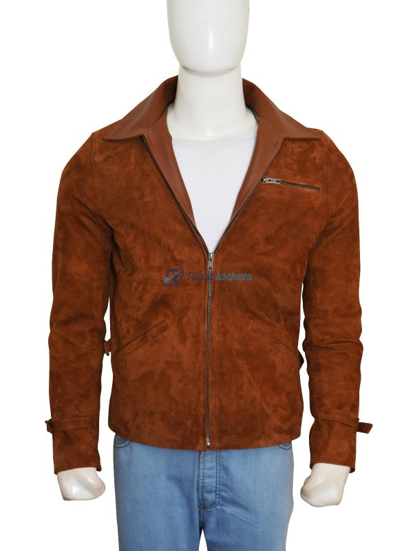 Brad Pitt Allied Max Vatan Brown Suede Leather Jacket
