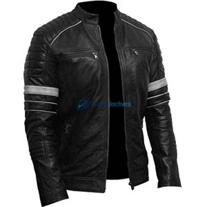 Mens Cafe Racer White Stripes Shoulder Bikers Leather Jacket