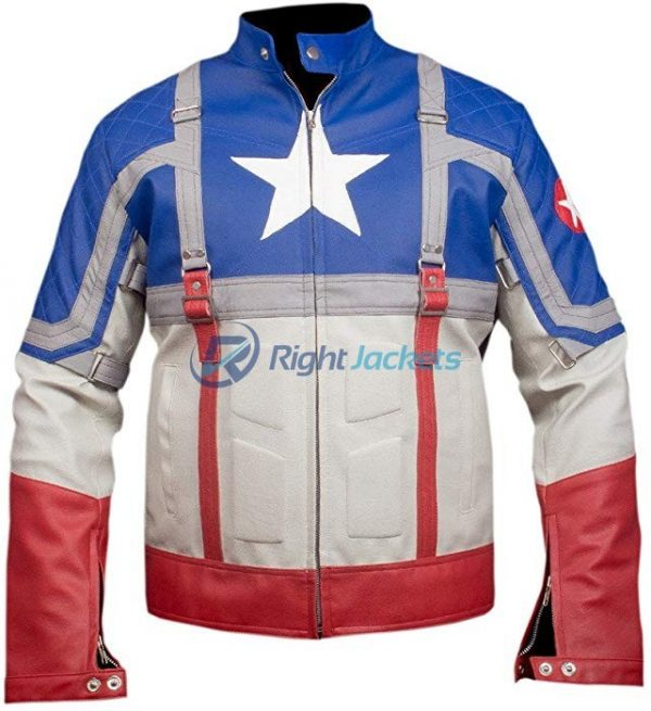 Captain America The First Avenger Blue Leather Jacket