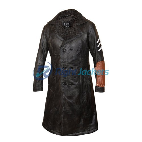 Captain Boomerang Jai Courtney Fur Lined Black Leather Coat