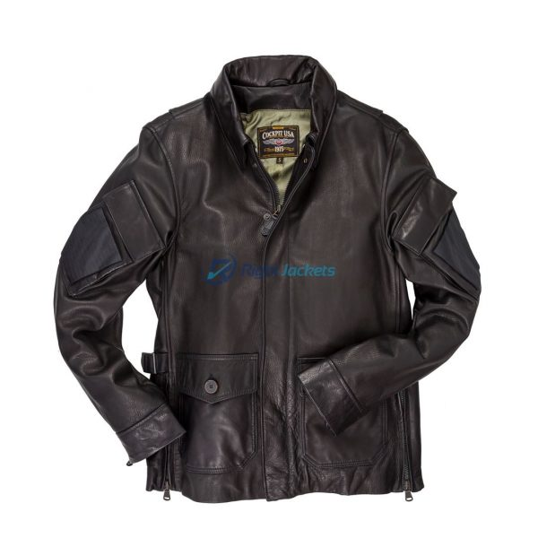 Cockpit USA Dispatch Motorcycle bomber Brown Leather Jacket