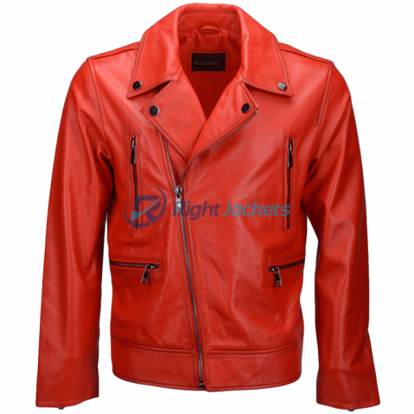 Estimo Vegetable Tanned Biker Red Faux Leather Jacket