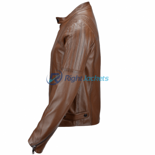 Estimo Vegetable Tanned Ribbed Camel Biker Leather Jacket