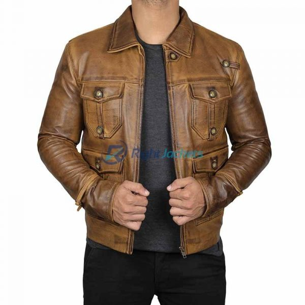 Expendable Vintage Camel Cognac Mens Faux Leather Jacket