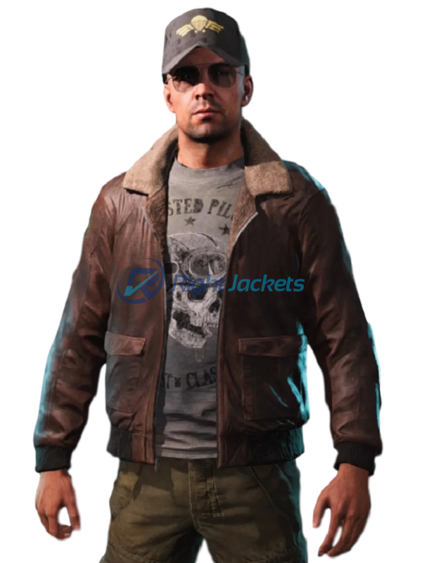 Far Cry 5 Video Game Aviator Brown Faux Leather Jacket