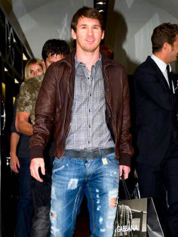 Footballer Lionel Messi Brown leather Jacket