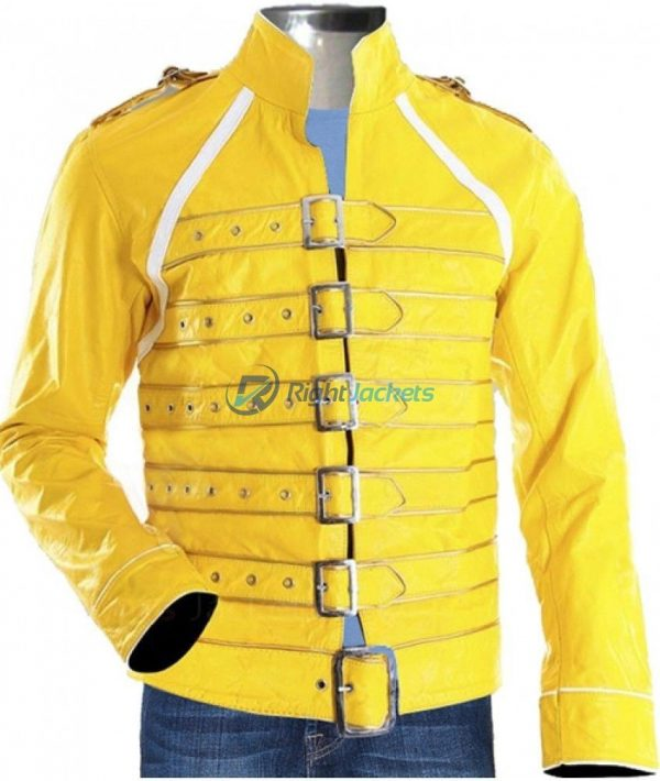 Freddie Mercury Queen Rock Yellow Leather Jacket