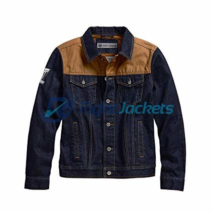Harley Davidson Waxed Canvas Slim Fit Biker Blue Denim Jacket