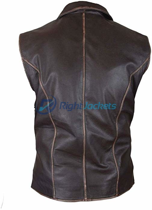 Cullen Bohannan Hell On Wheels Distressed Cowhide Brown Leather Vest