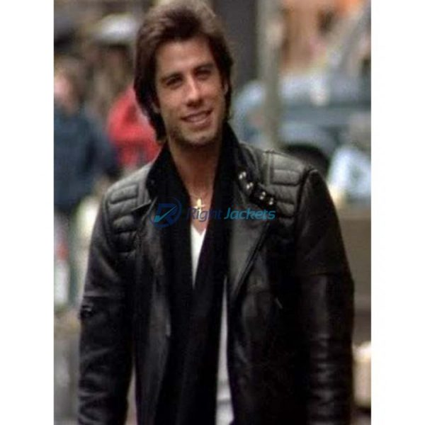 John Travolta Staying Alive Black Leather Jacket