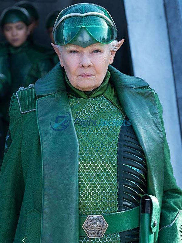 Judi Dench Artemis Fowl Long Green Leather Coat