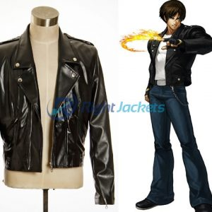 King of Fighters XIII Cosplay Stylish Kyo Costume Leather Jacket