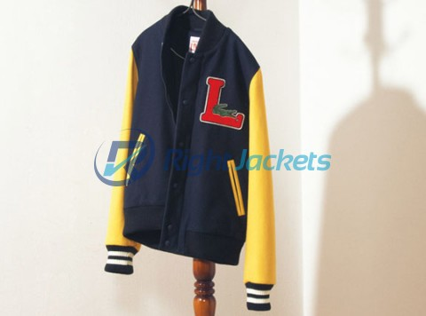 Lacoste Black And Yellow Shoulders Stylish Cotton Jacket